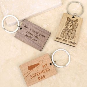 Personalised Wooden Keyring - token gifts for dad