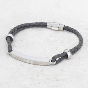 Personalised Men's Leather Bar Bracelet