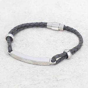 Personalised Men's Leather Bar Bracelet