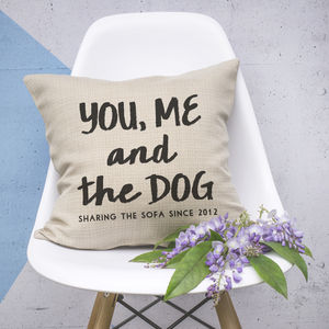 Personalised 'You, Me And The Dog' Cushion