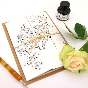 Heart Laser Cut Gatefold Card - thank you cards