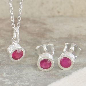 Birthstone Ruby Silver Jewellery Set - necklaces & pendants