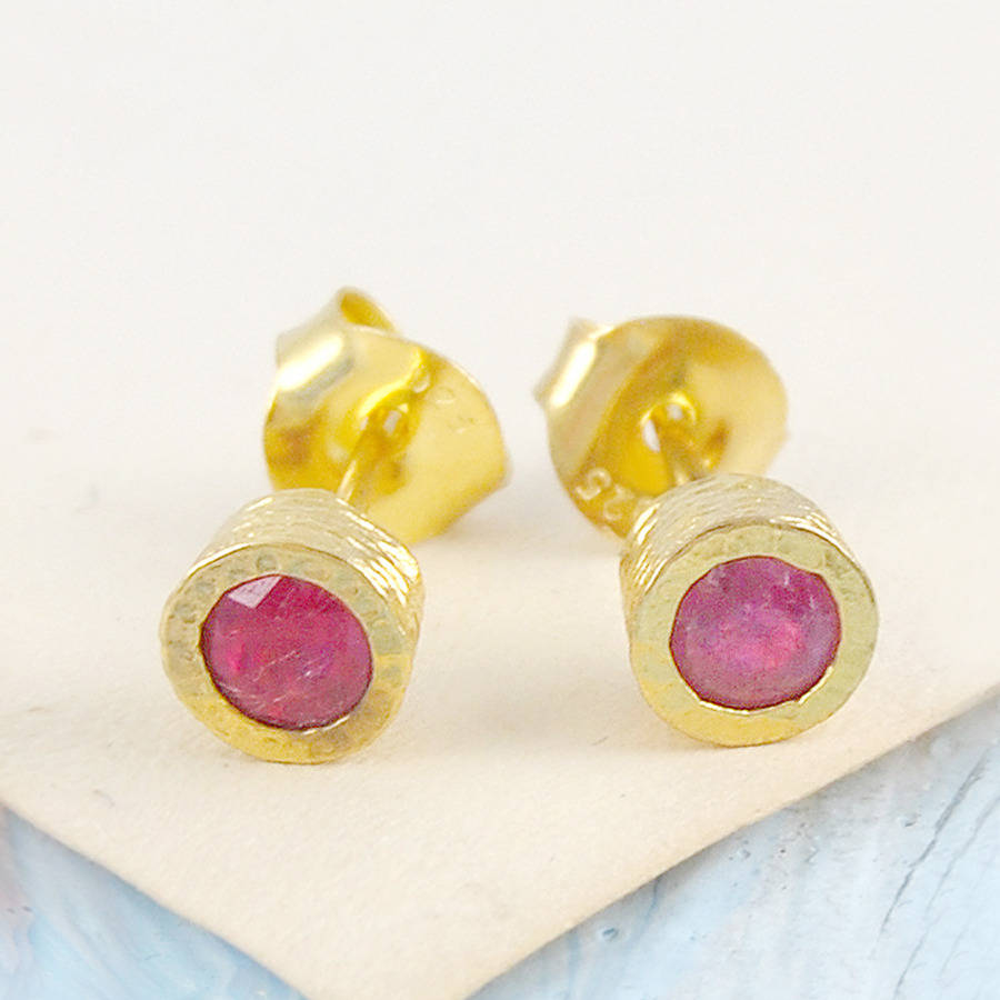 Gold And Rose Ruby Birthstone Stud Earrings By Embers