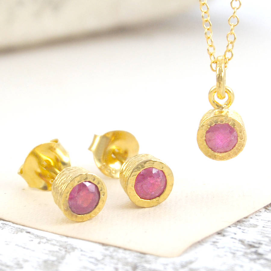 Ruby Dot Necklace And Earrings Set