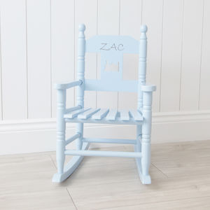 Personalised Blue Children's Rocking Chair - baby's room