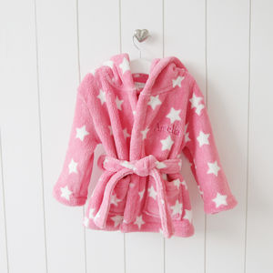 Personalised Pink Star Print Hooded Robe - for babies