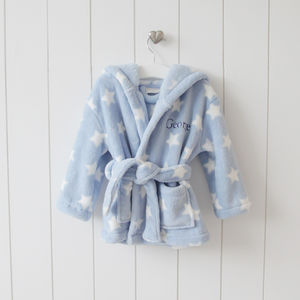 Personalised Blue Star Print Hooded Robe - for under 5's