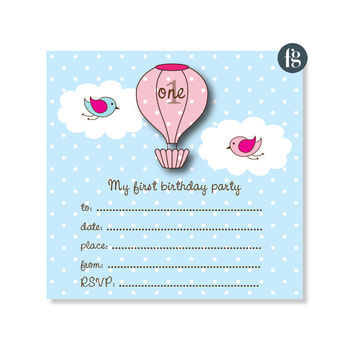 Up, Up And Away My 1st Birthday Party Invitations