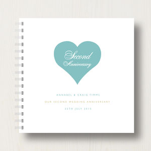 Personalised 2nd Anniversary Memories Album - albums & guest books