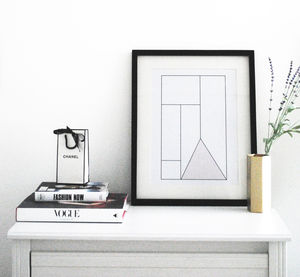 Modern Geometric Wall Art Available Framed 'Amour'