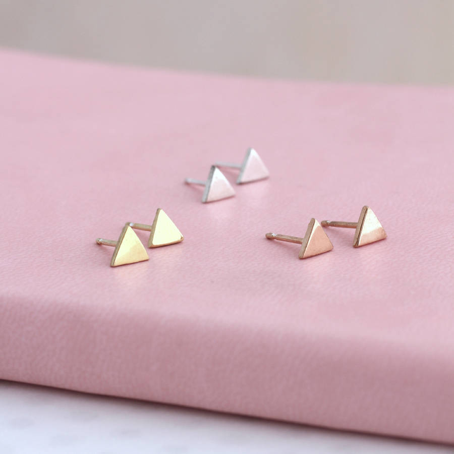 Flat Silver Geometric Studs Triangles In 925 Sterling 9ct Yellow Gold Plate And