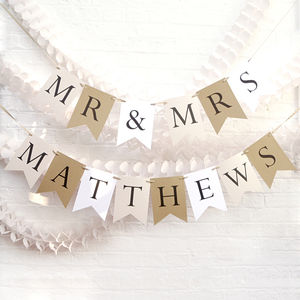 Personalised Wedding Bunting - room decorations