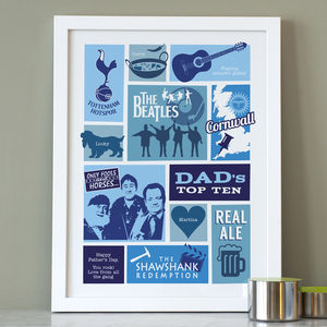 Dad's Top 10 Print - gifts for fathers
