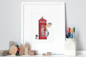 British Telephone Box Print - children's pictures & paintings