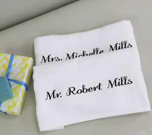 Personalised Mr And Mrs Towel Set - personalised wedding gifts