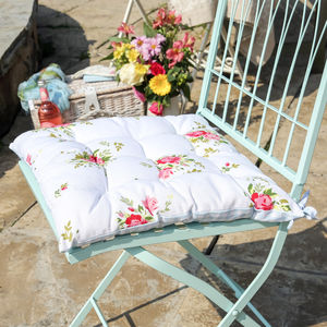 Vintage White Floral Square Seat Pad - cushions