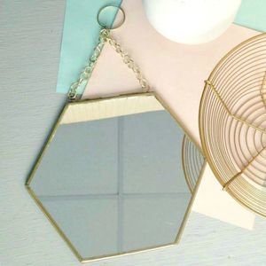Small Hexagon Shaped Brass Mirror