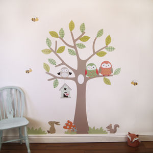 Tree With Owls And Bees - wall stickers