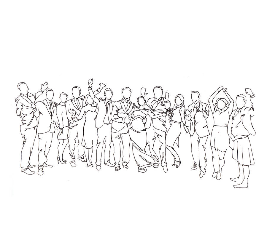 Line Art Wedding : Personalised wedding party drawing by love lines