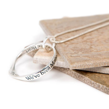 Mother And Daughter Silver Plated Message Necklace