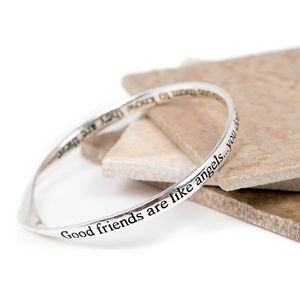 Friends Silver Plated Word Message Bangles - gifts for her
