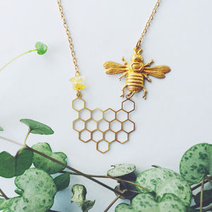 Bee And Honeycomb Necklace - necklaces & pendants