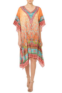 Orange Printed Designer Kaftan - beachwear