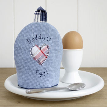 personalised daddy's egg cosy by milly and pip, blue with star