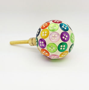 Colourful Button Resin Cupboard Bedroom Door Knobs - door knobs & handles