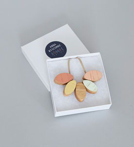 Peach Wooden Necklace - necklaces & pendants