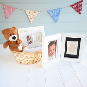 Baby Imprint Kit And Photo Frame Teddy Baby Gift Basket - baby shower gifts
