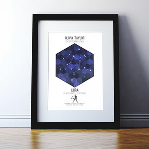 Personalised Horoscope And Star Sign Print - best for birthdays