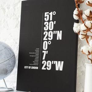 'City Coordinate' Personalised Print With Your Text