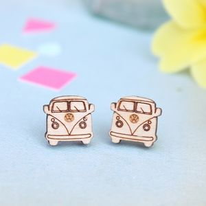 Wooden Camper Van Stud Earrings