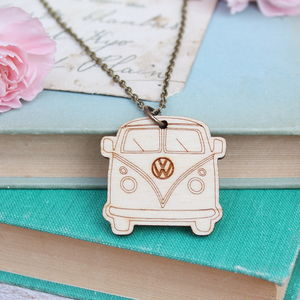 Wooden Camper Van Necklace - women's jewellery