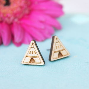 Wooden Teepee Stud Earrings - earrings