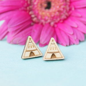 Wooden Teepee Stud Earrings