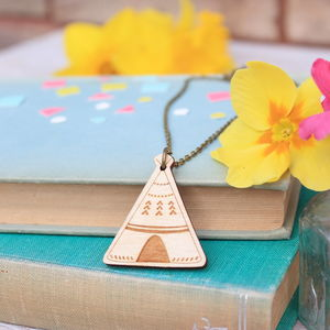 Wooden Teepee Necklace