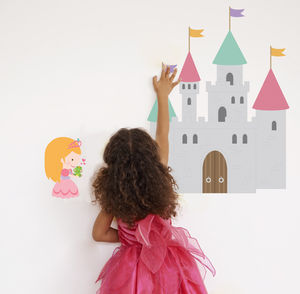 Fairytale Castle And Princess Fabric Wall Stickers