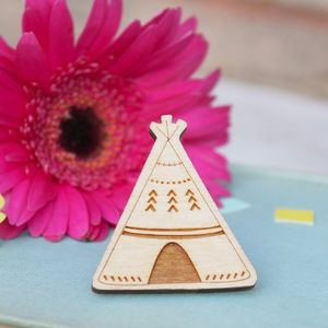 Wooden Teepee Brooch