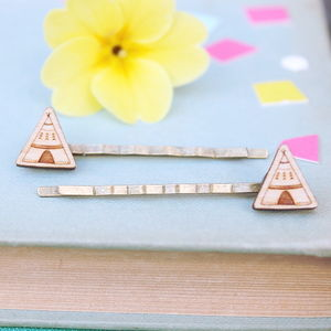 Wooden Teepee Hair Grips - boho clothing