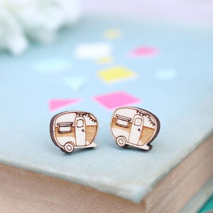 Wooden Caravan Stud Earrings - children's jewellery