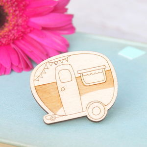 Wooden Caravan Brooch - pins & brooches