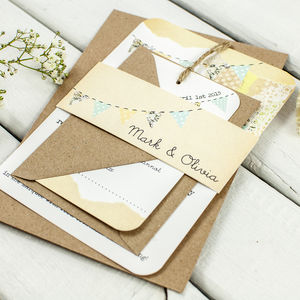 Country Bunting Wedding Invitation Bundle - invitations