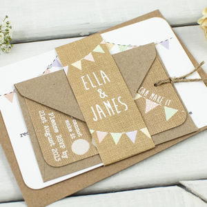 Burlap Wedding Invitation Bundle - pretty pastels
