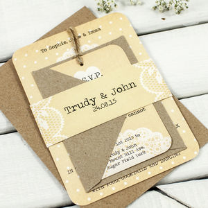 Rustic Lace Wedding Invitation Bundle - wedding stationery