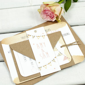 Bunting Wedding Invitation Bundle - wedding stationery