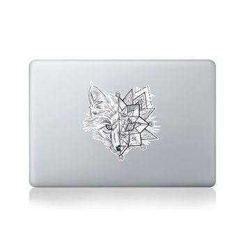 Geometric Fox Splice Macbook Sticker By Kitty Foster