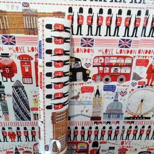 Recycled 'London' Wrapping Paper Three Sheets - ribbon & wrap