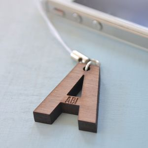 Personalised Initial Walnut Mobile Phone Charm - men's accessories